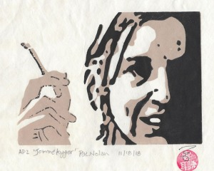 """""""Joanne Kyger"""" reduction print from the Smoking Poets series"""